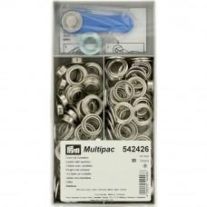 schijven en ringen, nestels 14 mm zilver 80 stuks