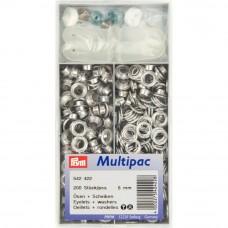 schijven en ringen, nestels 8 mm zilver 200 stuks