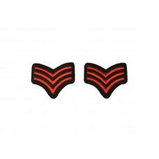 rang onderscheiding embleem rood zwart 2 stuks