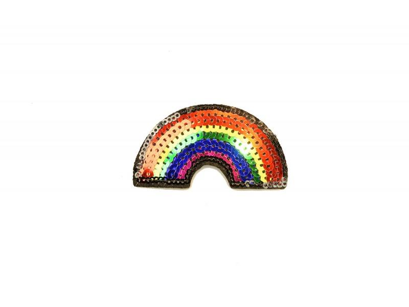 regenboog patch met pailletten 7 x 4 cm