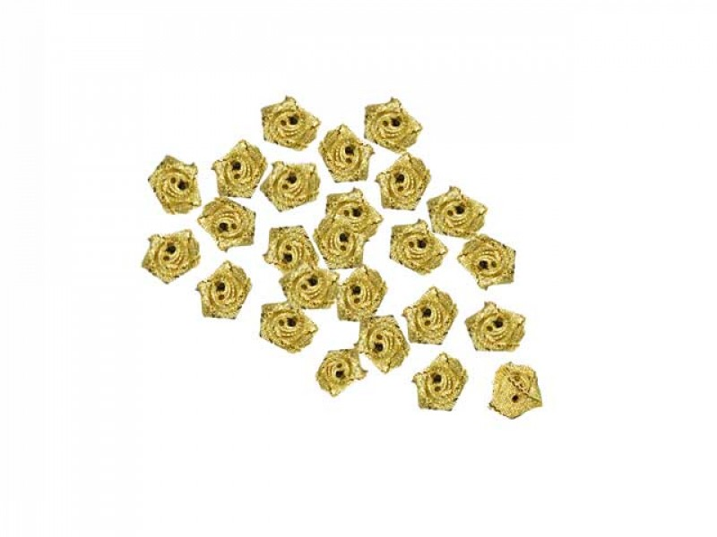 roosjes lurex goud 15 mm (25 stuks)