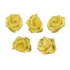 roosjes lurex goud 30 mm (5 stuks)