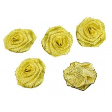 roosjes lurex goud 40 mm (5 stuks)