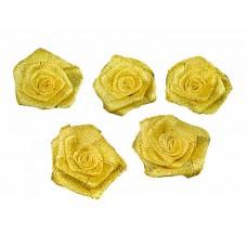 roosjes lurex goud 55 mm (5 stuks)