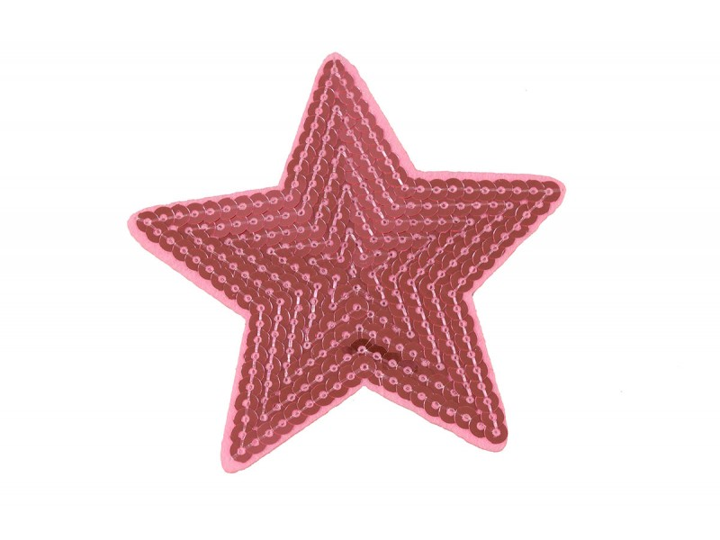 roze ster patch pailletten 9 cm