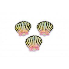 schelp applicatie set roze geel opstrijkbaar 3 stuks