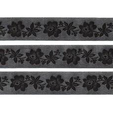 sierband zwart geweven bloemen