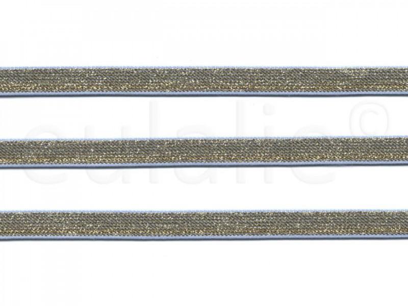 Sierelastiek lichtblauw goud lurex 1cm