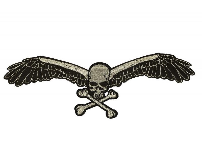 skull met vleugels patch XL 25x9 cm