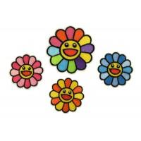 smiley bloemen patch set
