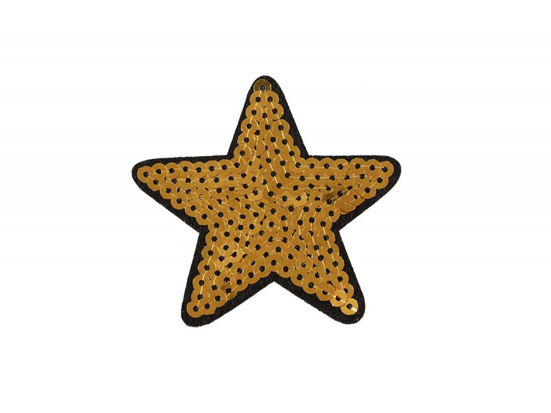 ster applicatie goud zwart pailletten 7 cm