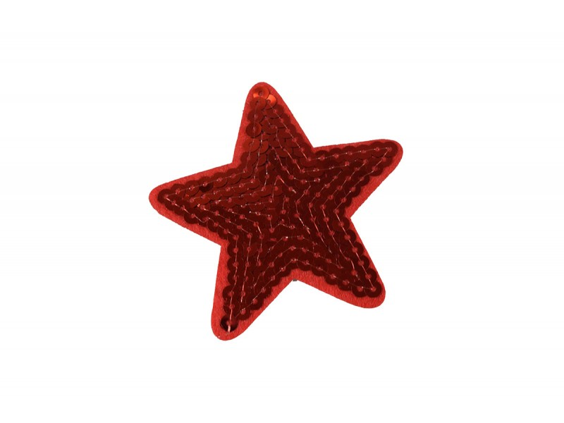 ster applicatie rood pailletten 7 cm