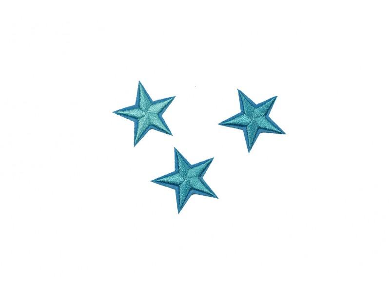 sterren patch set aqua blauw 2,5 cm 3 stuks