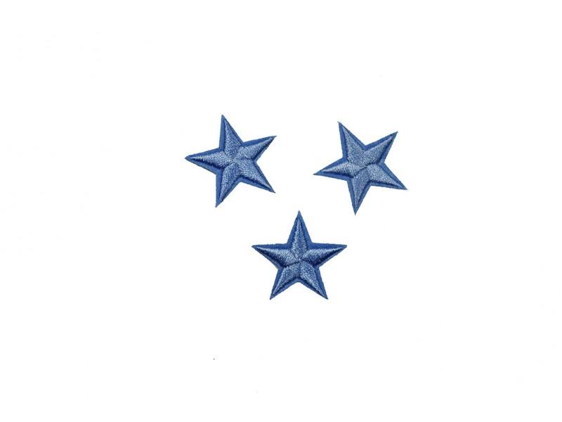 sterren patch set blauw 2,5 cm 3 stuks
