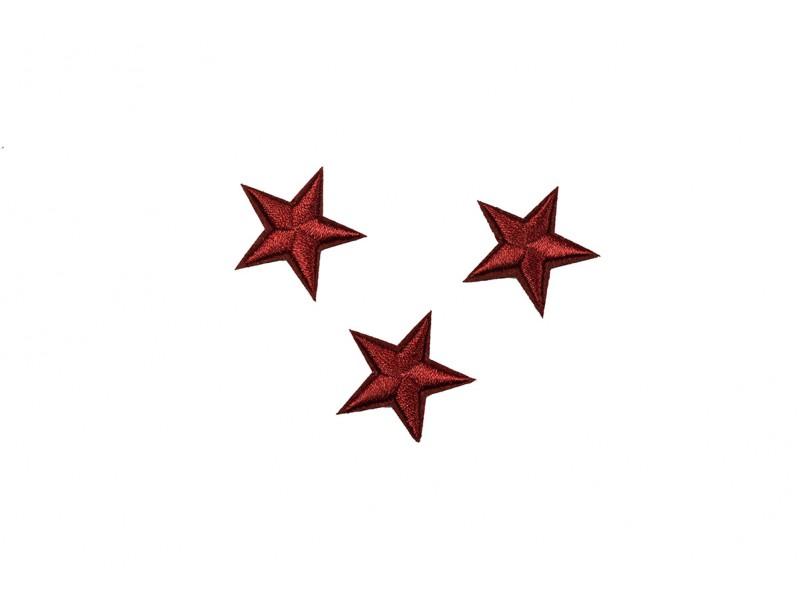 sterren patch set bordeaux rood 2,5 cm 3 stuks