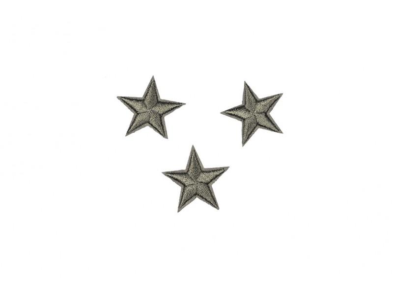 sterren patch set donker zilver 2,5 cm 3 stuks