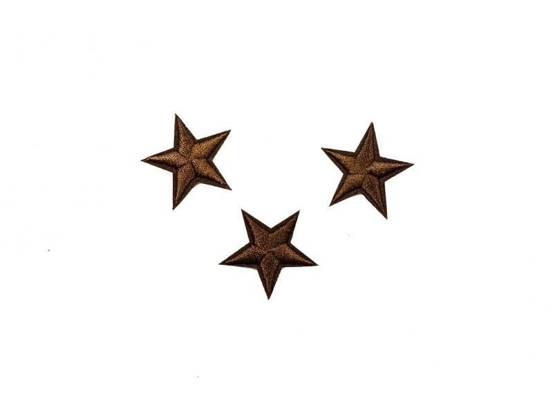 sterren patch set donkerbruin 2,5 cm 3 stuks