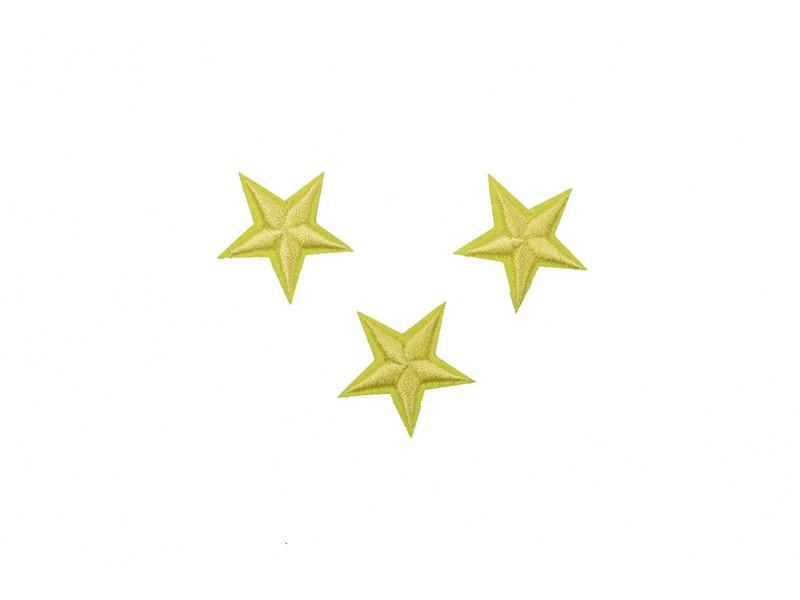 sterren patch set geel 2,5 cm 3 stuks