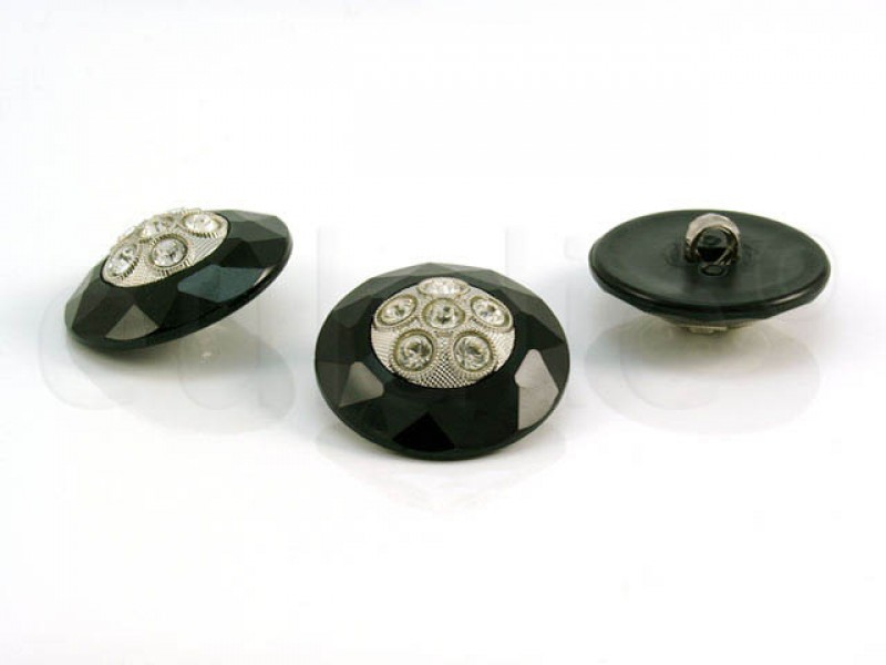 Strass knoop zwart 2.8cm