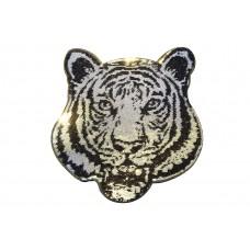 tijgerkop patch pailletten zilver XL 20x22 cm