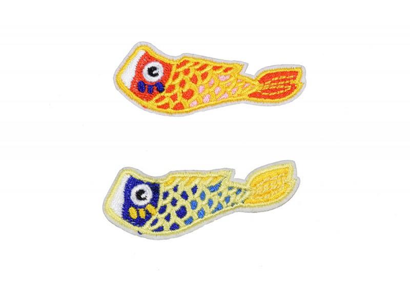 Tropische vissen applicatie set opstrijkbaar 2 stuks