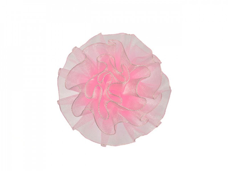 tule corsage poeder roze groot