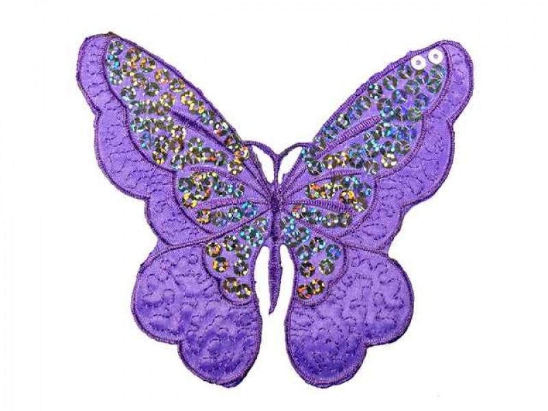 vlinder applicatie pailletten paars