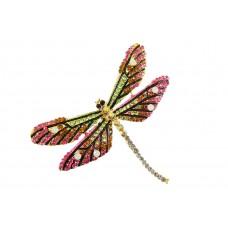 vlinder broche bewerkt met strass steentjes fuchsia lila