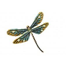 vlinder broche bewerkt met strass steentjes goud turquoise