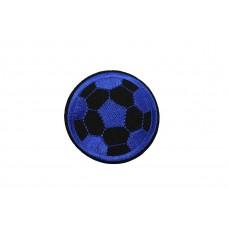 voetbal patch blauw op vilt geborduurd