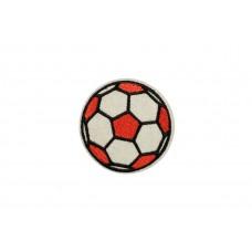 voetbal patch rood wit op vilt geborduurd
