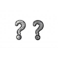 vraagteken applicatie zilver pailletten 2 stuks