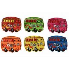 VW oldtimer busjes patch set 6 kleuren