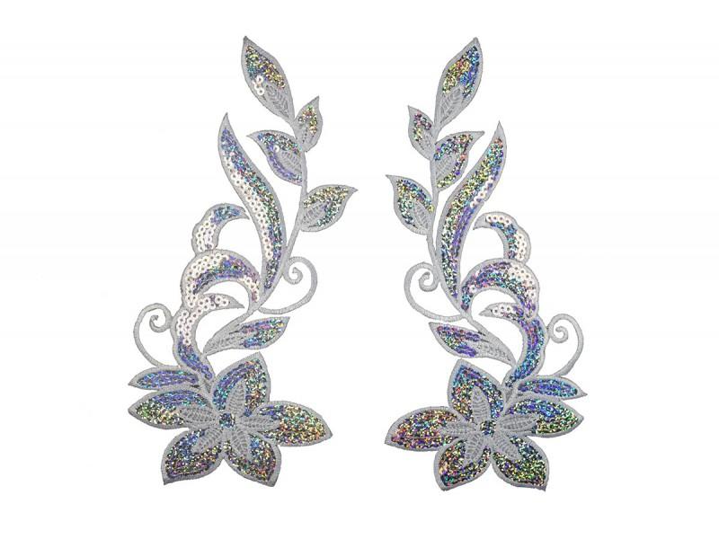 zilveren bloemen set pailletten 26x13cm