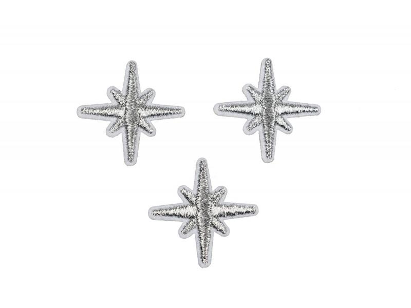 zilveren sneeuwvlok patch 3 cm 3 stuks