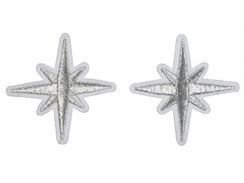 zilveren sneeuwvlok patch 5,5 cm 2 stuks