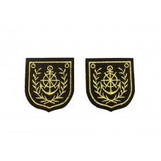 zwarte opstrijkbare emblemen met gouddraad 2 stuks